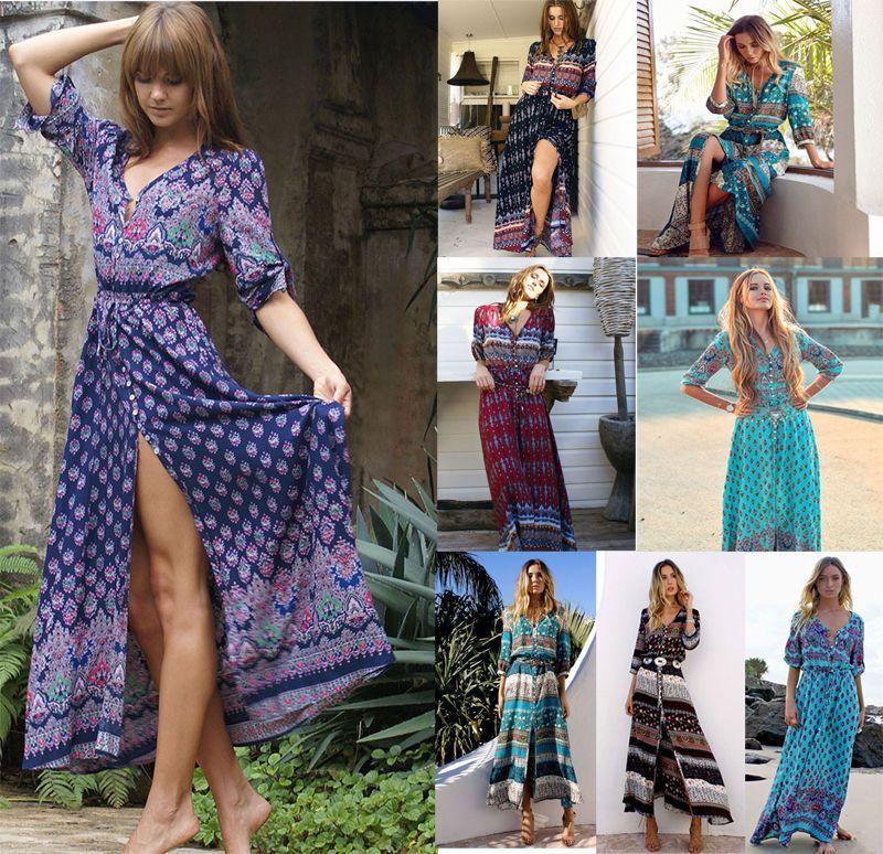 ddcb8951c5c3b S 5XL Bohemian V Neck Maxi Long Dress Women Floral Print Retro Hippie  Vestidos Clothing Boho Big Plus Size Casual Beach Summer Dresses Junior  Cocktail ...