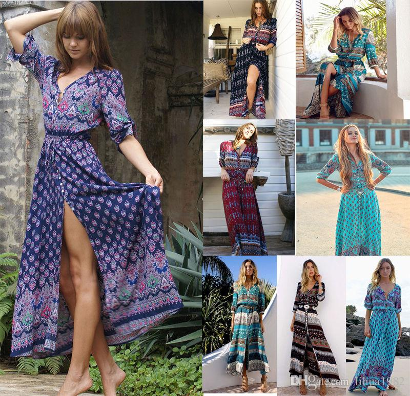 a2462110ec175 Satın Al S 5XL Bohemian V Yaka Maxi Uzun Elbise Kadınlar Çiçek Baskı Retro  Hippi Vestidos Giyim Boho Büyük Artı Boyutu Rahat Plaj Yaz Elbiseler, ...