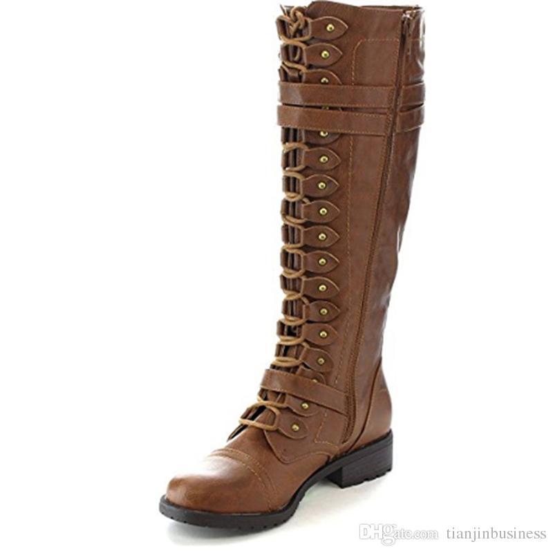 Großhandel 2018 Mode Frauen Lace Up Reitstiefel Chunky Low Heel Kniehohe Stiefel  Schnalle Seitlichem Reißverschluss Up Winter Schuhe Plus Größe 43 Von ... 8cef2c6b50