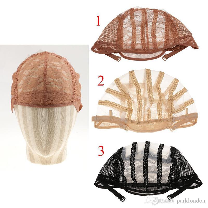 Perruque Casquettes pour faire des perruques Sangles réglables Retour Swiss Dentelle Full Dace Perruque Perruque Perruque Wig Weave Net Hair Extension HotSale