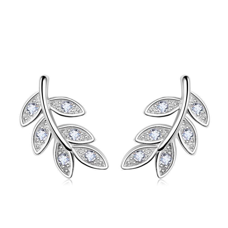 PATICO 2017 новый простой мода 925 серебряный лист Оливковая ветвь серьги предотвратить аллергии серьги пирсинг ювелирные изделия уха