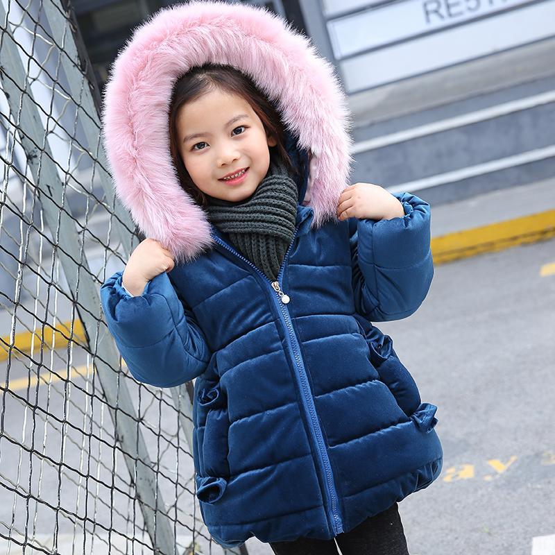 Giacche invernali 2018 coniglio orecchio le ragazze vestiti abbigliamento bambini cappotto di pelliccia di spessore con cappuccio cappotto ragazze inverno cappotti e giacche