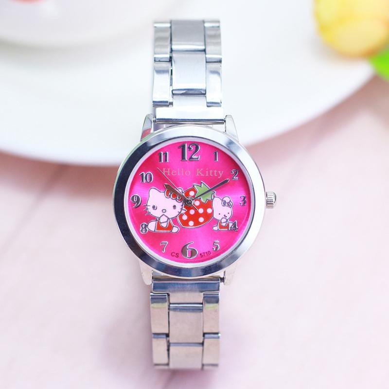 3f028dd8015e Compre 2018 Nuevo HelloKitty Niñas Mujeres Jóvenes Relojes De Pulsera De  Cuarzo Señoras Gato Encantador Personalidad De Acero Inoxidable Pulsera  Reloj ...