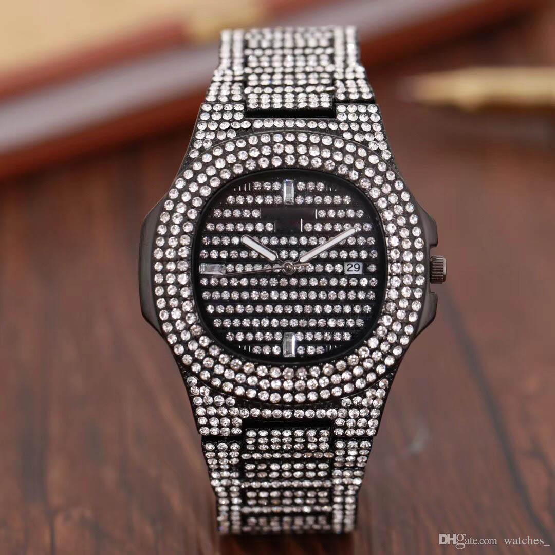 2ca80ca996e Compre 2018 Luxo Relogio Masculino Todos Os Homens De Diamantes Relógio  Vestido De Ouro Relógio De Pulso Mostradores Azuis Relógios Mecânicos  Preços Caixa ...