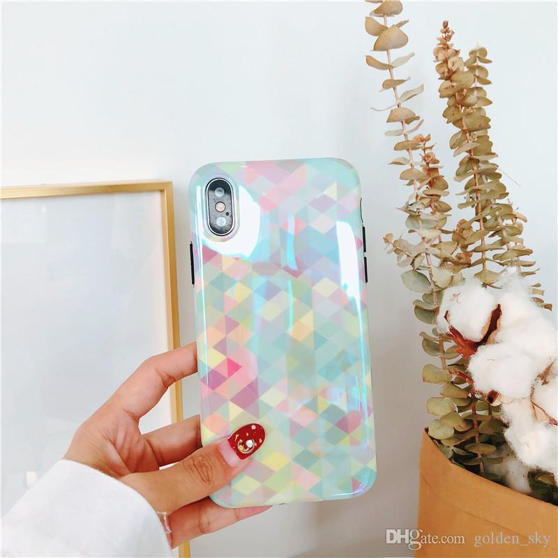 For iPhone 6 Plus iPhone X Diamond Pattern Phone Case Back Cover Case Soft TPU Phone Protector