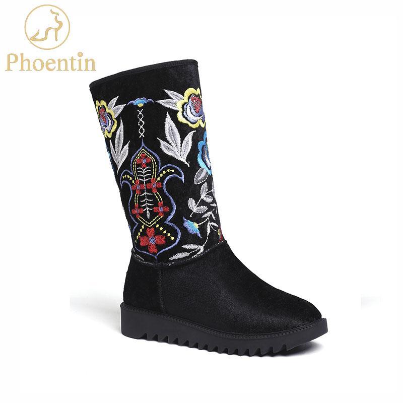 461ccacc Compre Phoentin Bordar Botas De Nieve Flor Negro 2019 Nutural Suede Botas  De Invierno Mujer Plataforma De Lana Étnica Cálida Señora Zapatos FT556 A  $80.21 ...