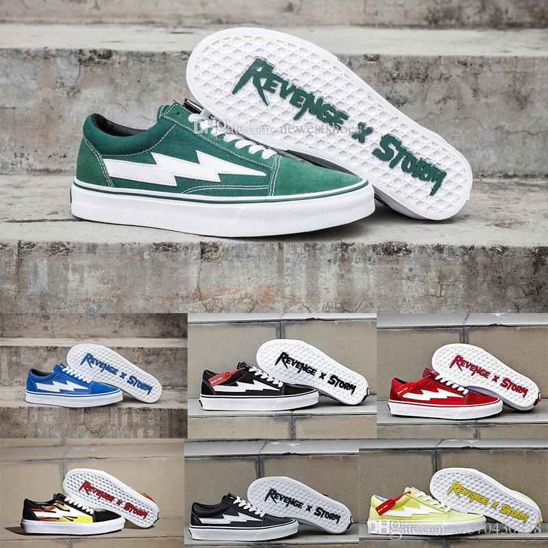 2018 Revenge x Storm Old Skool Green Blue Black Red Yellow Mens Women Canvas Shoes Kendall Jenner Ian Connor Skate Sneakers With Box discount 2015 w1EAkssUtl