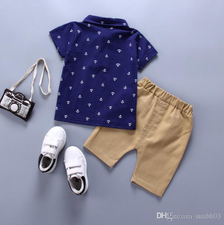 Summer Baby Boys Clothes Set Cartoon Anchor Kids Cotton Lapel T-shirt + Shorts Pants Boy Clothes Set Children Outfits 13974