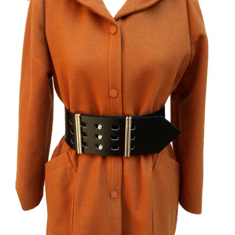 865a6dd78 Fashion Women Leather Belt Big Metal Pin Buckle Cowskin Wide Leather Belt  For Women Hollow Waist Belts Casual Luxury Belts Women S18101807 Seat Belt  Leather ...