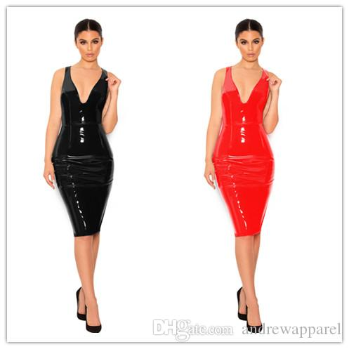 7b15698f7b Leather Mini Deep V Skirt Club Wear Sexy Lingerie Catsuit Latex Dancing  Costume Leather Bodysuit Sexy Game Plus Size Jumpsuit GC893 Catsuit Lingerie  Fetish ...