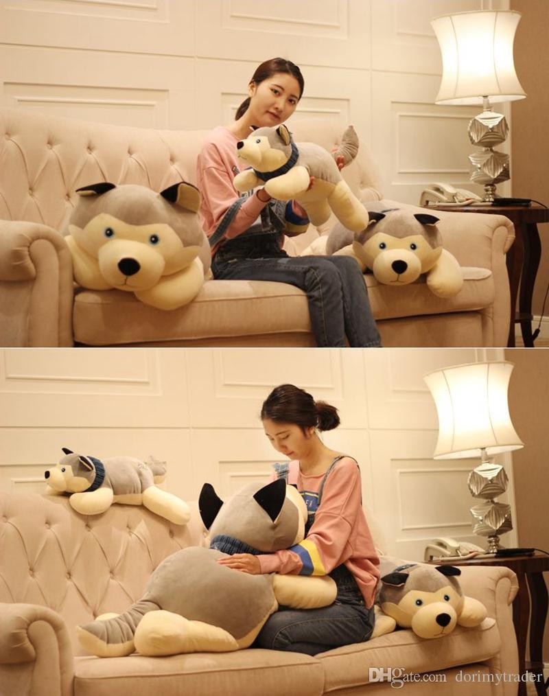 Dorimytrader large pop soft animal lying fat husky plush toy stuffed anime dog doll animls pillow gift for kids decoration 110cm DY61906