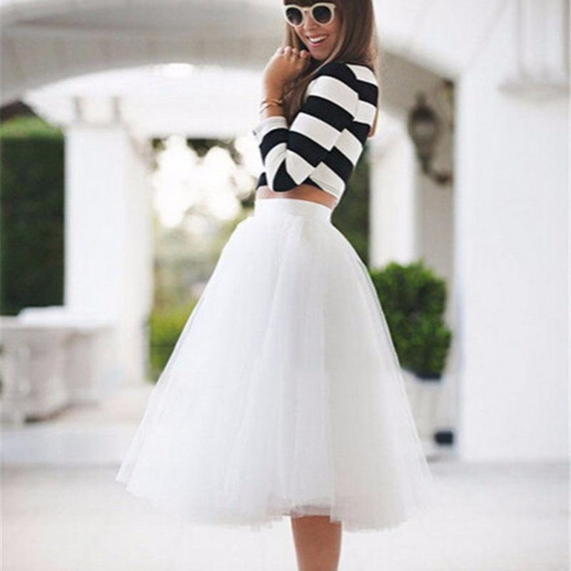 2ce909d93fc 2019 New Puff Women Chiffon Tulle Skirt White Faldas High Waist Midi Knee  Length Chiffon Plus Size Grunge Jupe Female Tutu Skirts From Feiyancao