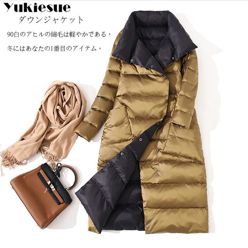 Duck Winter Ultraleichte Schlank Down Einreiher Doppelseitig Daunenmantel Parkas White Outwear Jacken Jacke Damen SpVzUM