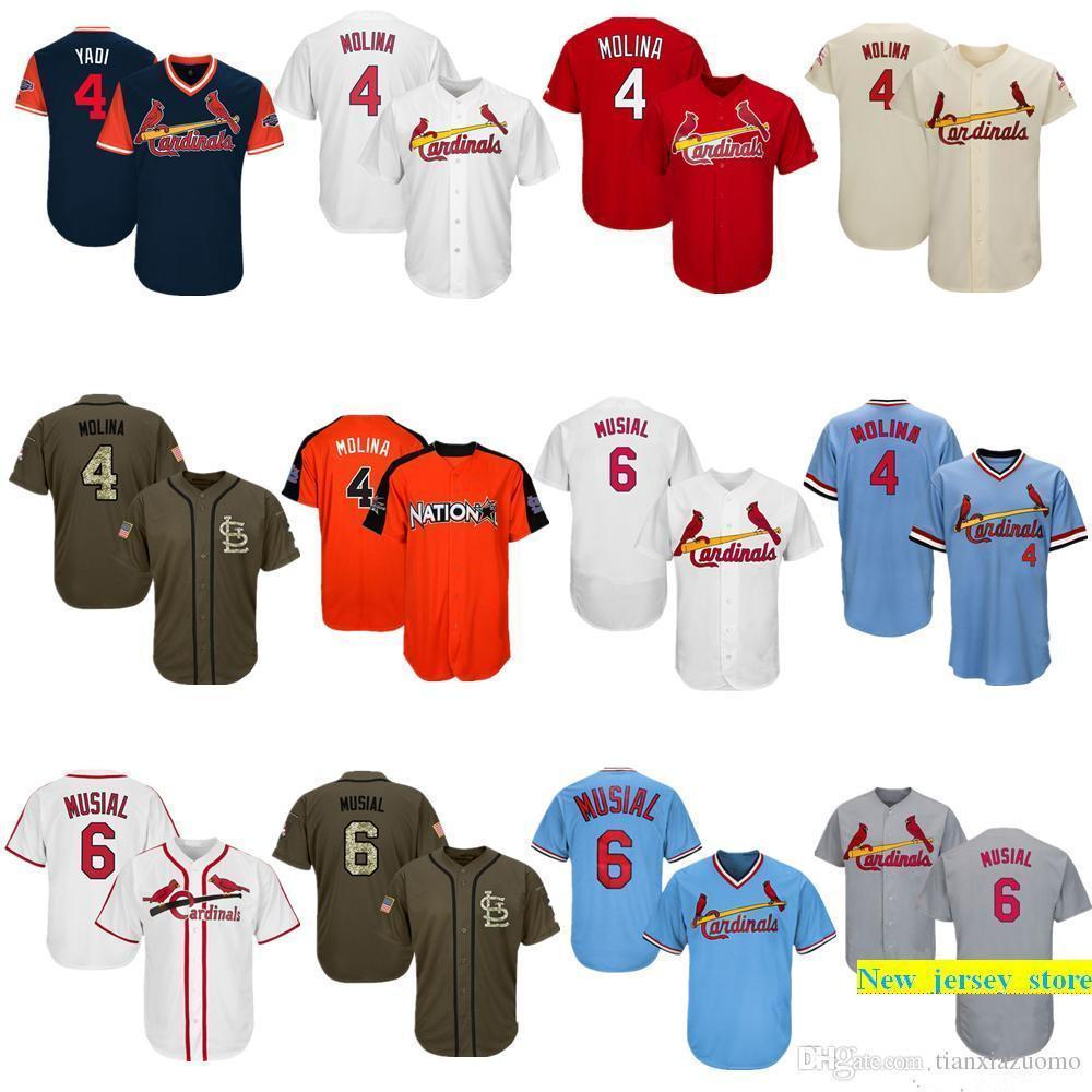 wholesale dealer 5fefe 89184 Men Women Youth Cardinals Jerseys 4 Molina 6 Musial Jersey Baseball Jersey  White Grey Red Cream Salute to Service Players Weekend All Star