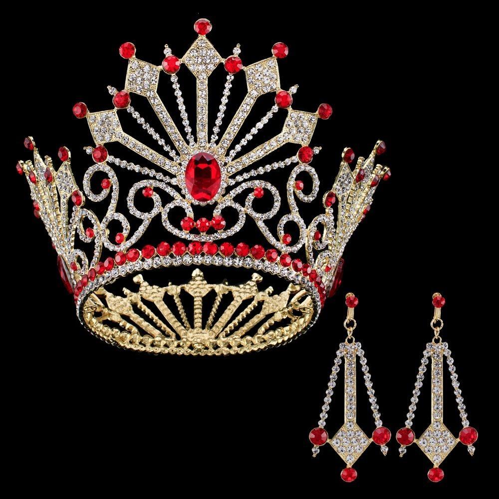 2017 Giant Miss Universe Königin König Männer Regal Sparkly österreichischen Strass Gold Goldene Hochzeit Diadem Tiaras Und Kronen Braut X912