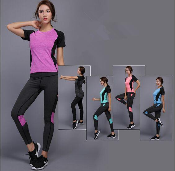 b270d495a2c 2019 2018 Women Yoga Set Gym Fitness Clothes Tennis Shirt+Pants Running  Tight Jogging Workout Yoga Leggings Sport Suit Plus Size From Duriang