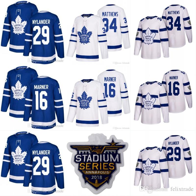 Toronto Maple Leafs 2018 Stadium Series 16 Mitch Marner 34 Auston Matthews  29 William Nylander 35 Curtis McElhinney Mens Hockey Jerseys UK 2019 From  ... 36e49821c