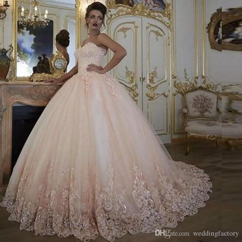 c5bd73bea5dbf Vintage Wedding Dresses Bridal Gowns Turkey Lace Bling Sequins Lace Tulle  Sweetheart Corset Back Puffy Plus Size Ball Gown 2018 Blush Pink Wedding  Dresses ...