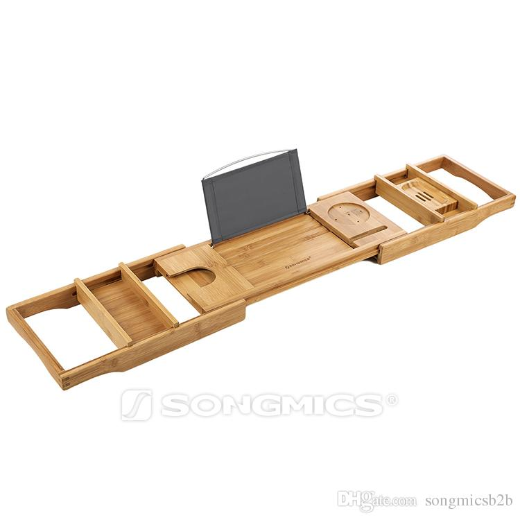 2018 Songmics 100% Natural Bamboo Bathtub Caddy Bath Tub Tray With  Extending Sides Rack For Wine Books Ipad Phone Free Soap Holder Bath Bridge  From ...