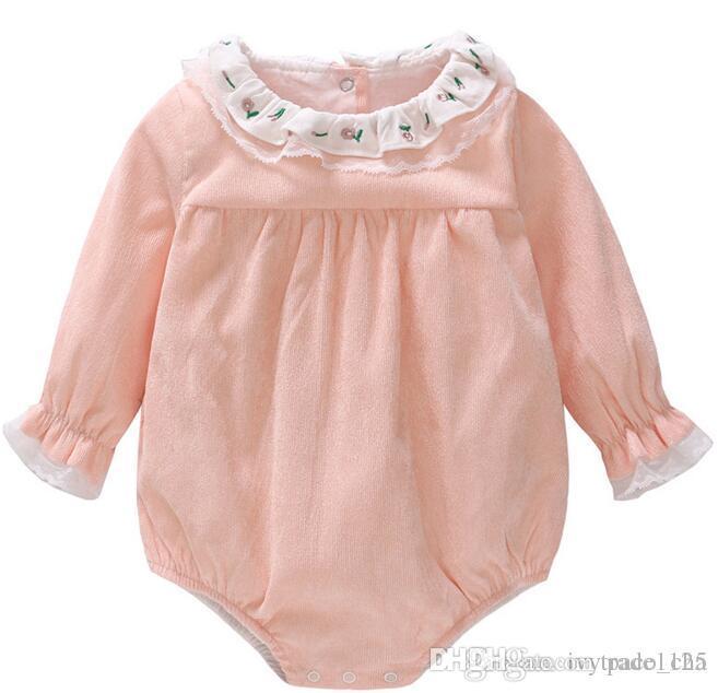 13f48b5e123 Baby Girl Clothing Romper Sets O-neck Long Sleeve Corduroy Romper ...
