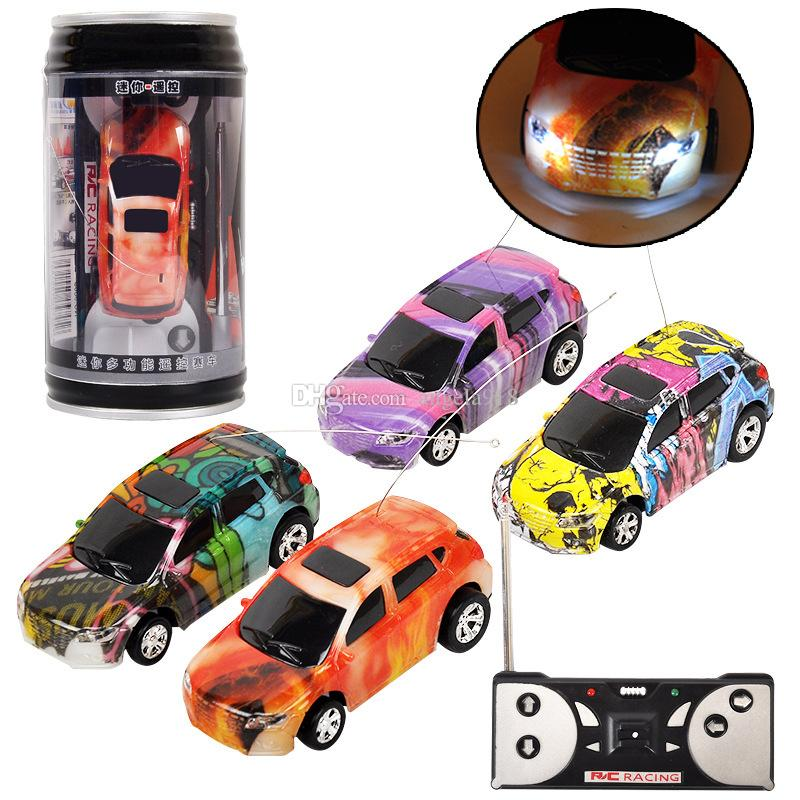 Mini RC Racing Car 1:64 Coke Zip-top Pop-top Can 4CH Radio Remote Control Vehicle LED Light Toys for Kids EMS C4291