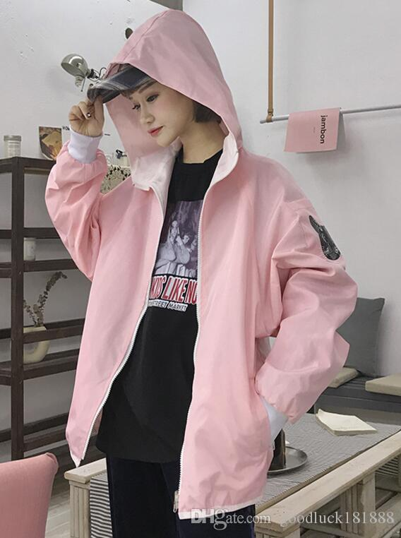 Korea ulzzang Spring New Loose kitty Printing two sides Student Coat Tides Harajuku Women's Hoodies Sweatshirts