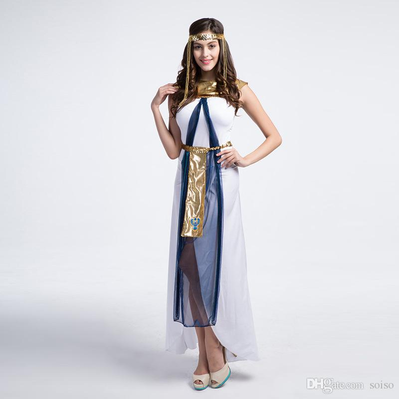 4e71f01b71f Fashion Fairy Greek Goddess Costumes Egyptian Queen Cleopatra Costume  Halloween Party Cosplay Clothes Sexy White Arab Woman Dress Girl Group  Halloween ...