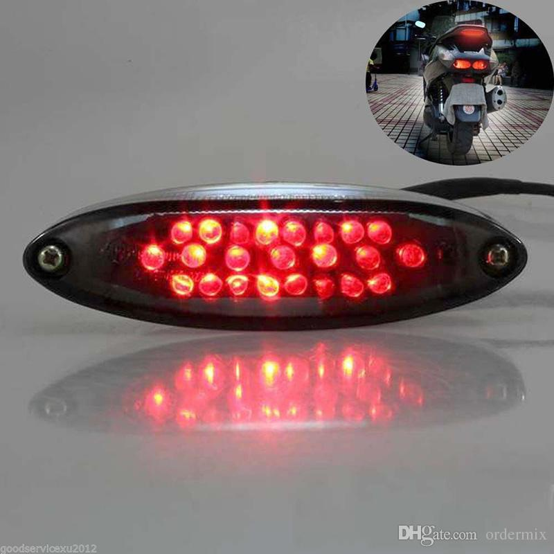 Super brillante ABS de moda Pl/ástico Rojo LED Freno de cola 12V 28 LED Luz trasera de la motocicleta LED trasera