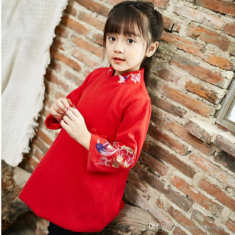 New Chinese Style Girls Embroidered Bow Cheongsam Dress Autumn Winter New Year Dress Children Clothing Baby Girl Clothes Thick Clothing