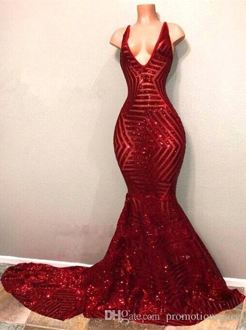 Red Blingbling Sequins Prom Dresses 2018 Sleeveless Mermaid Plunging V Neck Black Girl Prom Dresses Evening Party Gowns BA7779