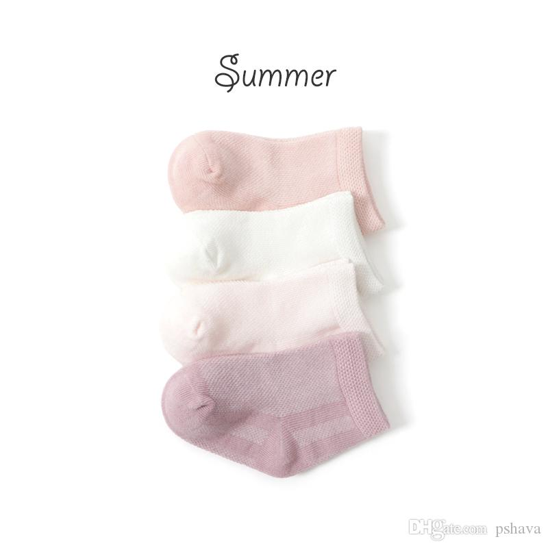 Hot sale Baby infant girl summer toddler sock loose mesh breathable cotton stocking 0-2T pink boat ankle kids short thin socks
