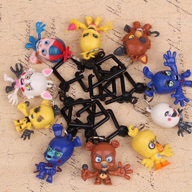 10Pcs/Set 7CM Five Nights At Freddys 3 key ring toys MINI Action Figure Loose Toys cute Doll Children Gift keychain pendant FFA829
