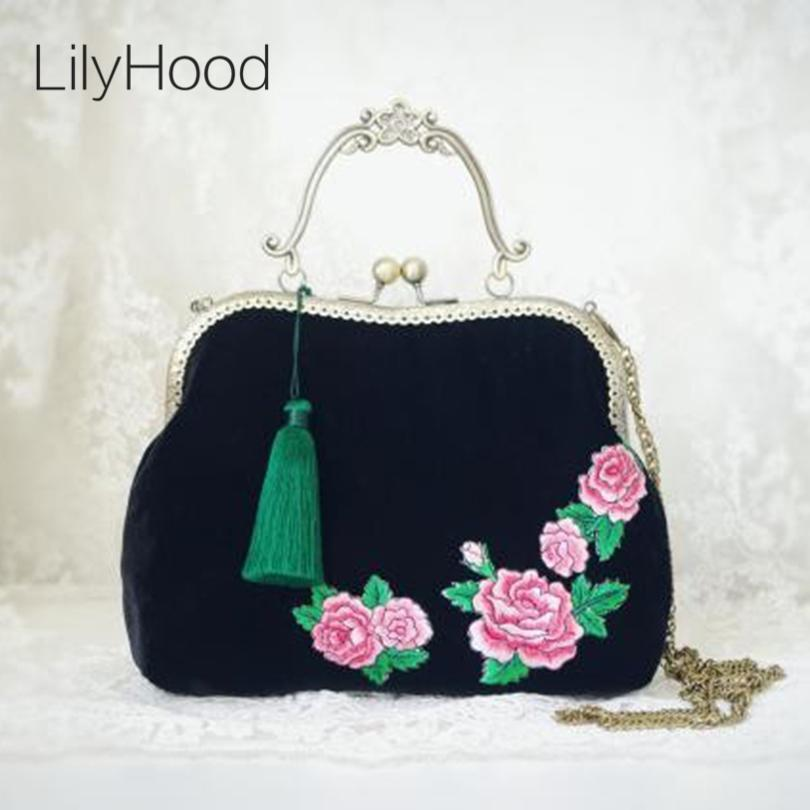 LilyHood Female Velvet Embroidered Kiss Lock Handbag Flowerl Vintage ... 8231e20685f71