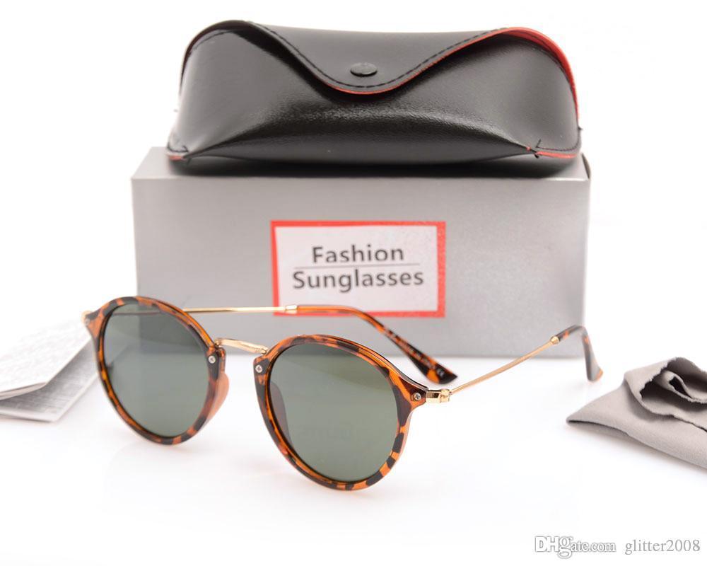 eb86b16300a34 Compre Nova Moda 2447 Marca Óculos De Sol Das Mulheres Dos Homens Gatsby  Retro Vintage Eyewear Máscaras Rodada Quadro Designer De Óculos De Sol Com  Caixas ...