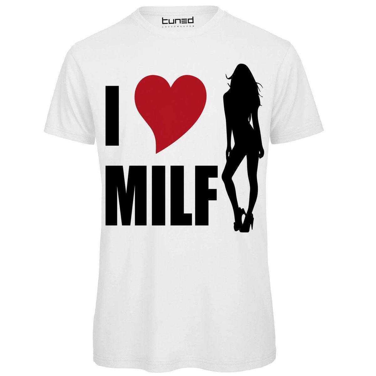 ca568b128e T-Shirt Divertente Uomo Maglietta Cotone Con Stampa Frasi Simpatiche I Love  Milf Cartone animato T Shirt manica corta Free
