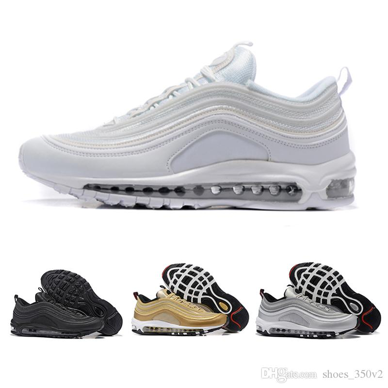 pretty nice 0615c 30b06 Compre Nike Air Max 97 Airmax Drop Shipping 97 Zapatos Casuales Triple Blanco  Negro Rosa Runnershoe Og Metallic Gold Silver Bullet Hombres Entrenador 97s  ...