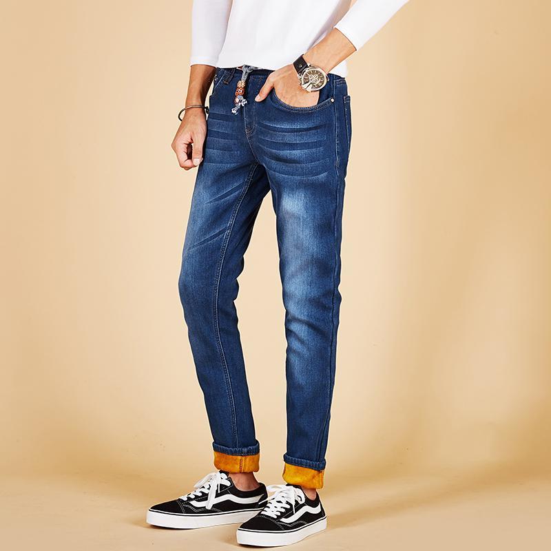 b1b2997c2a9b1 2019 2018 Plus Velvet Thicken Pants Warm Straight Jeans Men S High Stretch  Demin Pants Slim Fleece Winter Jeans Plus Size 28 40 48 From Balljoy