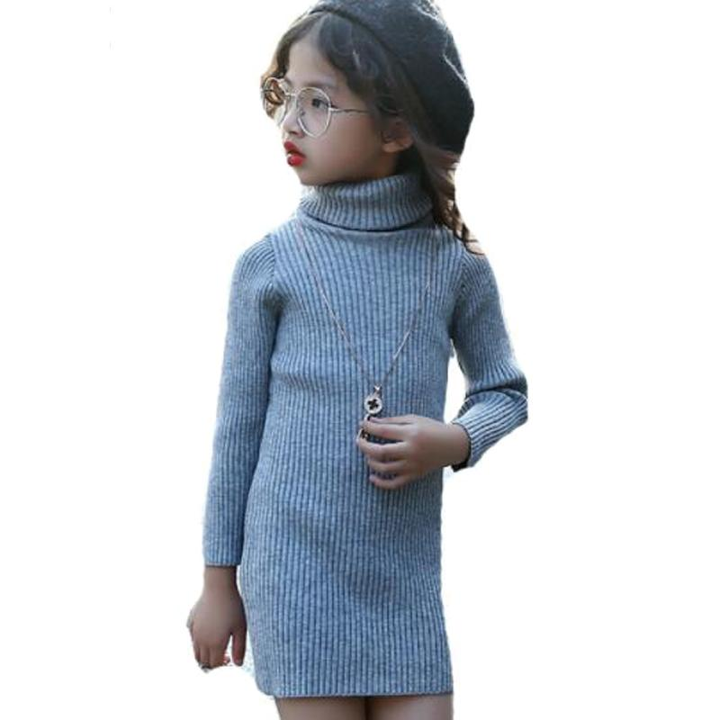 Kids Knitted Dresses For Girls Bottoming Shirts Turtleneck Sweaters