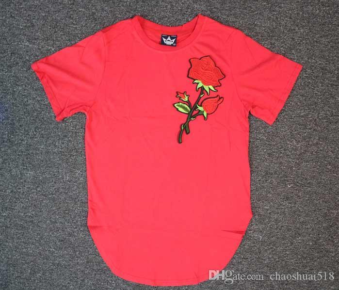 High street masculino popular logo rosas manga corta camiseta circular falda manga corta camiseta rosa tyga camisetas