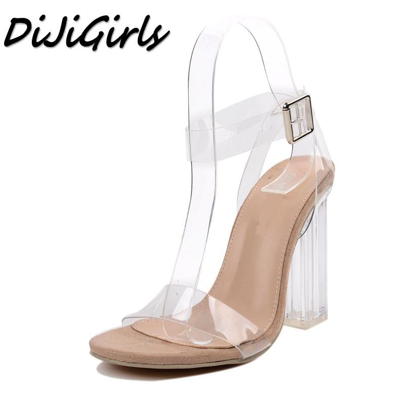1a36197d1b32 DiJiGirls New Women Sandals Ladies Pumps Thick Square High Heels Shoes  Woman Crystal Clear Transparent Ankle Strap Party Shoes Bridal Shoes Cheap  Shoes From ...