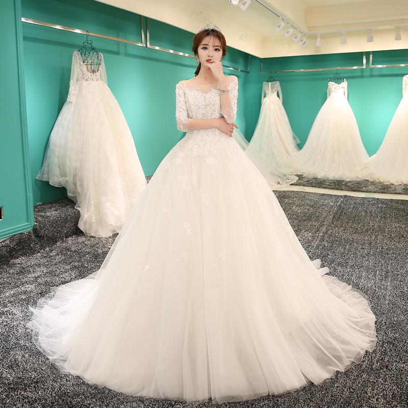 2018 New Slim Bride Fashion Korean Princess Tail Wedding Dress Good ...