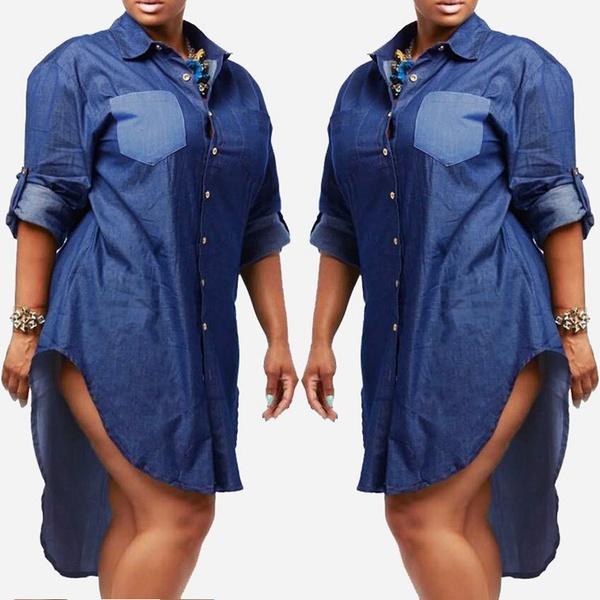 Plus Size Women Turn Down Long Sleeve Denim Jean Button Down Shirt ...