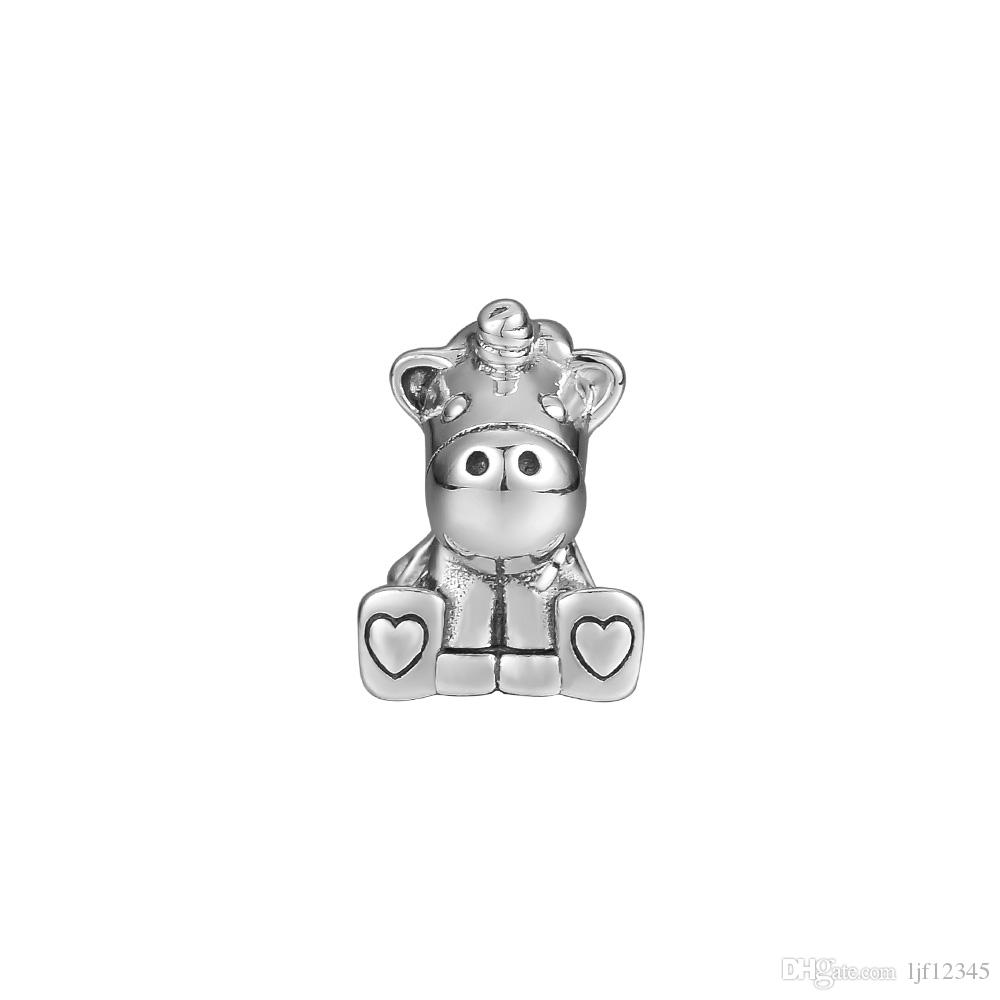 Pandulaso Bruno The Unicorn Charm Silver Beads para la fabricación de joyas Fit Chair 925 Silver Bracelet Bangle Fashion Jewelry Colección de otoño