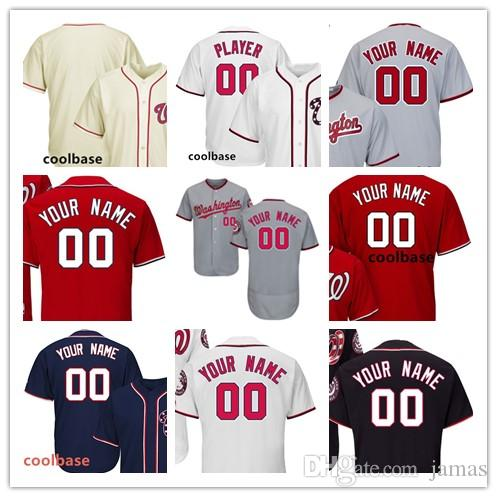 Custom Men s Women s Youth Kid Washington Baseball Jersey Red White ... d71f3aa8b