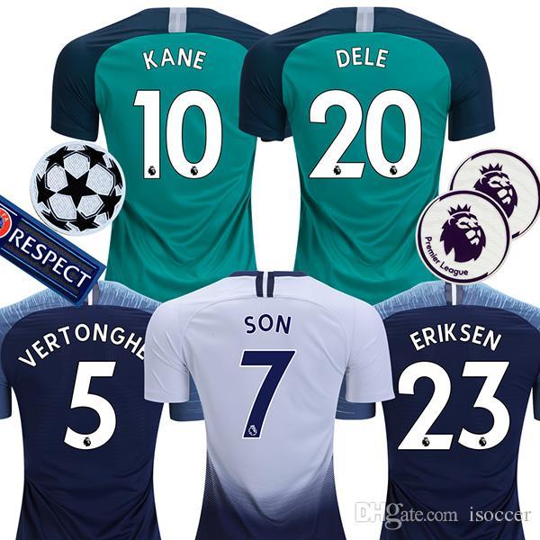 Compre Top Thailand 18 19 Tottenham Soccer Jersey 2018 2019 KANE DELE  Football Shirt Top Kits DEMBELE Camiseta De Futbol ERIKSEN Camisa De  Futebol SON ... b8da349254710