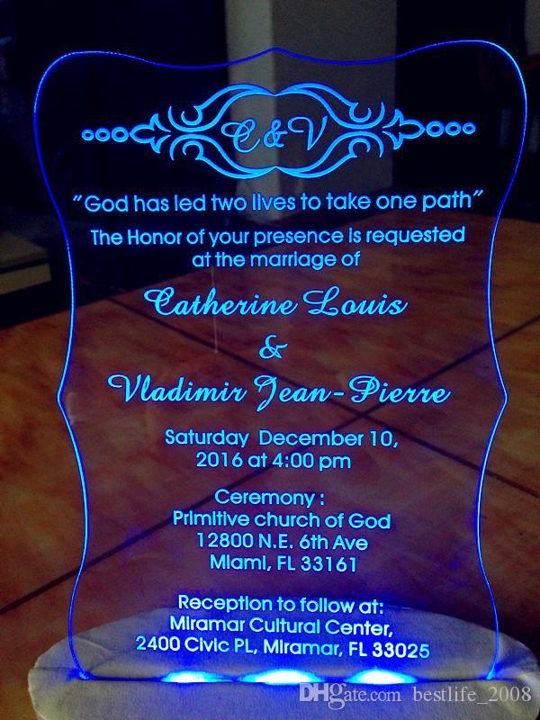 Acrílico transparente personalizado WeddingBirthday tarjeta de invitaciones con sobres gratis caja led y blanco no incluido L165mmxW114mmxT2mm BL-181006