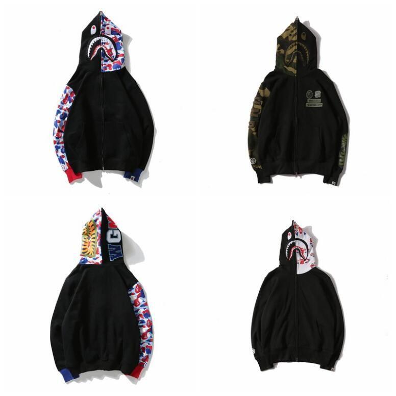 20ccb2a808c Retail Hoodie Mens AAPE Ape Shark Sportwear Hooded Hoodie Coat Camo ...