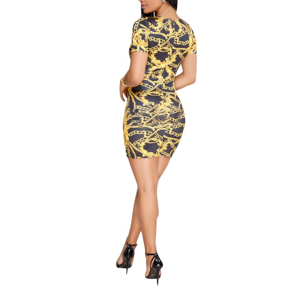 2018 Summer Women Mini Dress Chain Printed O Neck Vintage Short Sleeve Bodycon Sexy Lady Party Club Dresses Bandage Vestidos