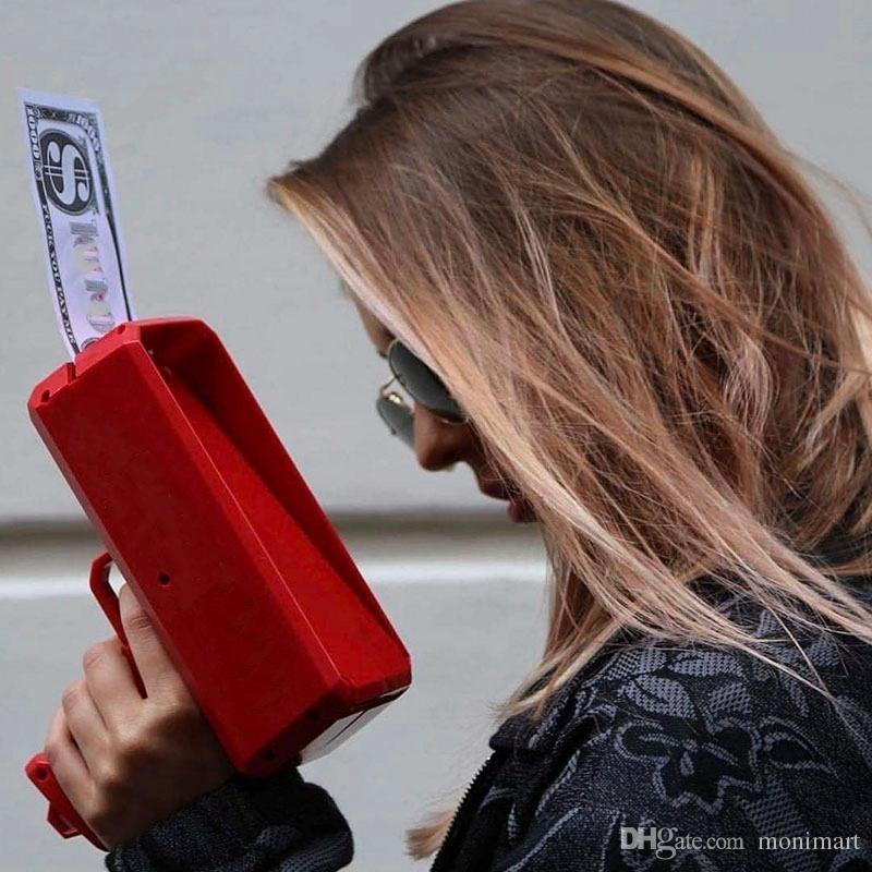 Haz que llueva dinero Pistola Cañón en efectivo 100 UNIDS Facturas Juego de regalo de la fiesta de Navidad Rojo Divertido Pistola de juguete Envío Gratis