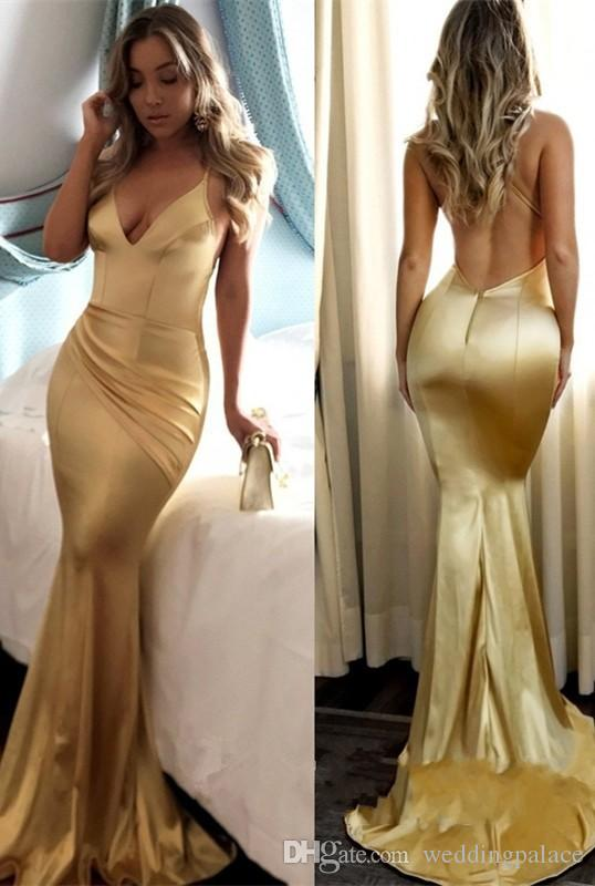 2018 Newest Sexy Gold V-neck Mermaid Long Evening Dresses Strecth Satin V-neck Backless Formal Evening Gowns Prom Party Dresses